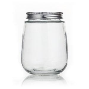 fat round glass milk bottle