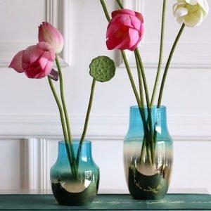 Blue gradient gilded glass vase