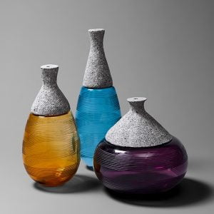 Creative glass small mouth vase