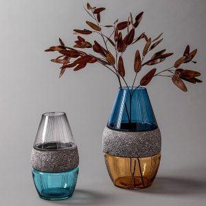 Creative color contrast glass vase