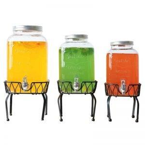 Fruit juice disposable mason jar with metal faucetv
