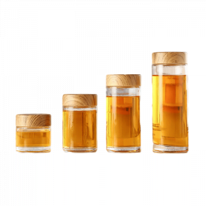 Round Glass Honey Jar With Wood Lid