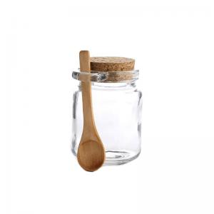 Spice Jar Pot With Cork Lid Spoon