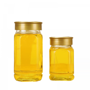 Square Glass Hoeny Jar with Plastic Lid